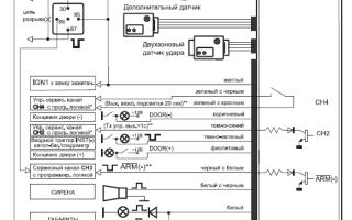 Электросхема подключения автосигнализации шериф